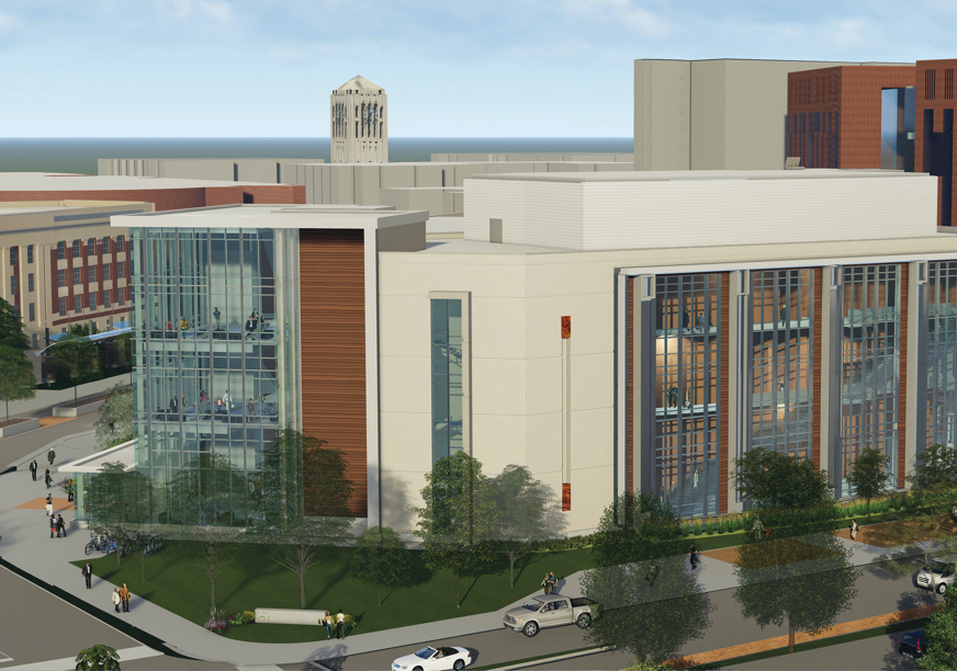 Artist's rendering of exterior of proposed new 100,000-square-foot campus classroom building.
