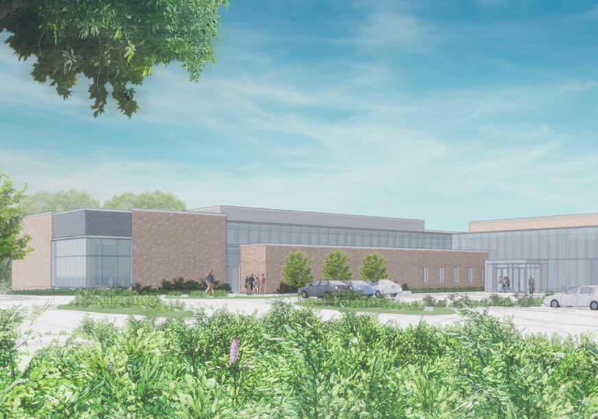 Architect's rendering of exterior of new Dance building