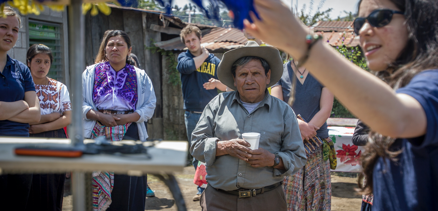 U-M BLUElab students talk about sustainable technologies to townspeople in Guatemala.