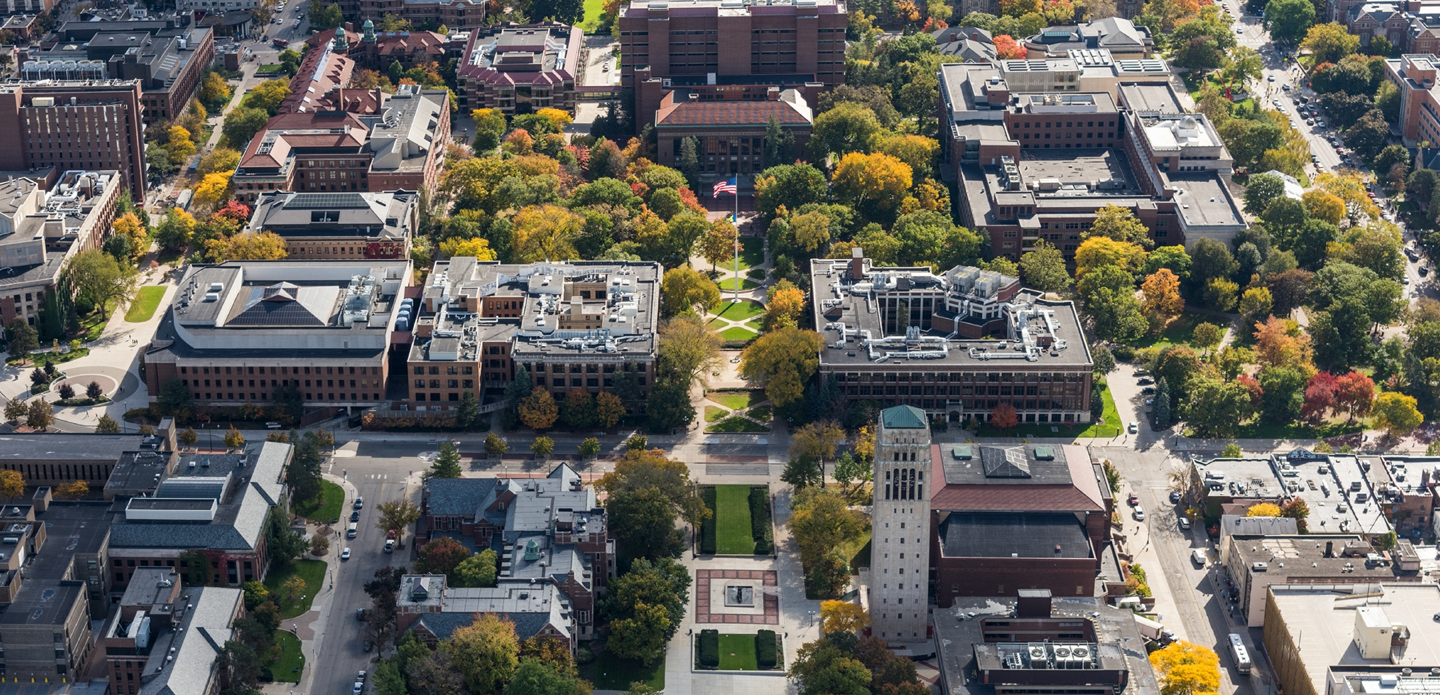 An aerial shot of the UM-Ann Arbor campus, showing Burton Tower, the Diag and the surrounding buildings.