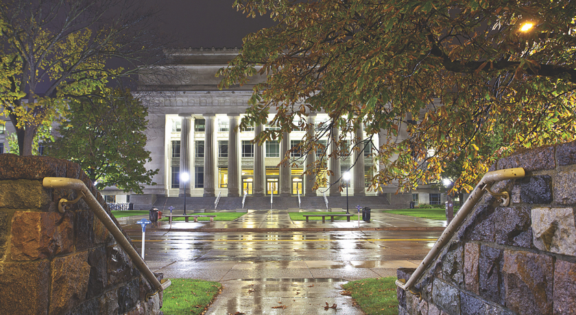The main entrance of Angell Hall on a rainy evening.